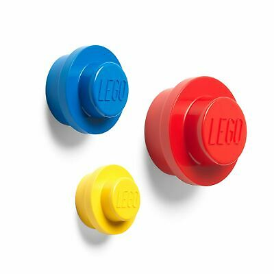Lego 3 Piece Wall Hanger Set Decorative + Functional - Red, Blue & Yellow
