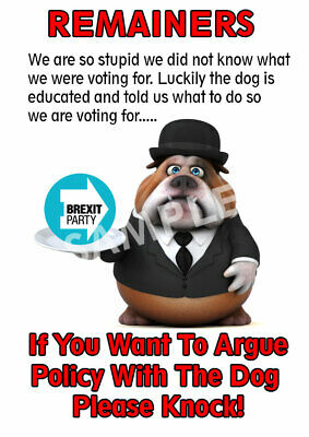 Sarcastic Brexit Party Door Poster With Dog Funny
