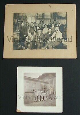 2 - Early 1900's Original Vintage Antique Factory Workers Cabinet Photos