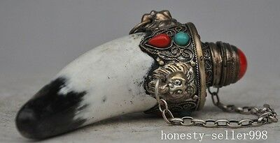 Rare old Tibet silver Inlay Ox horn Red Coral Turquoise lion head Snuff bottle