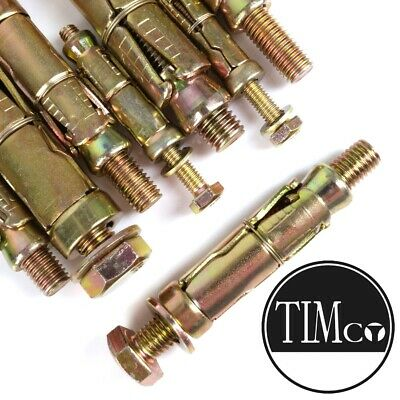 pack 2 LOOSE BOLT PROJECTING SHIELD ANCHOR M10 BOLT M14 SHIELD 120MM LENGTH