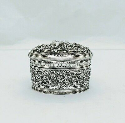 Antique Burmese Silver Lime Box, Lemur, Repousse, Shan States, Late 19Th C