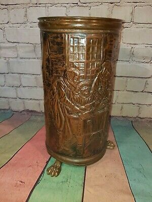 Vintage French Copper Bass Umbrella Walking Stick Stand Holder Plant Pot
