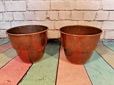 Beautiful Vintage Solid Copper French Villedieu Hammered Plant Pot Planter