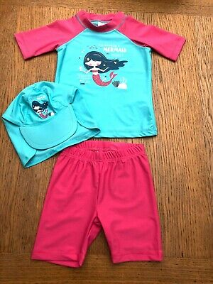 Girls Pink Mermaid 3 Piece Sunsafe Swimwear Set Ages 6-12 or 12-24 Months *NEW*