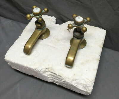 Antique Pair Porcelain Brass Separate Hot Cold Bathroom Sink Faucets Vtg 210-19L