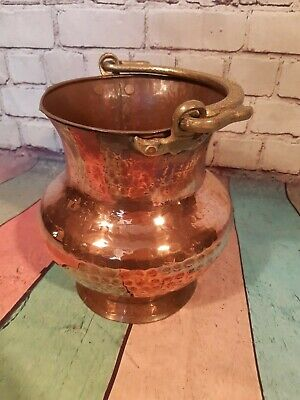 Antique Vintage Old French Hammered Copper Brass Cauldron Plant Pot Ice Bucket