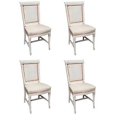 Set of 4 Antique Hand Painted French Dining Chairs.