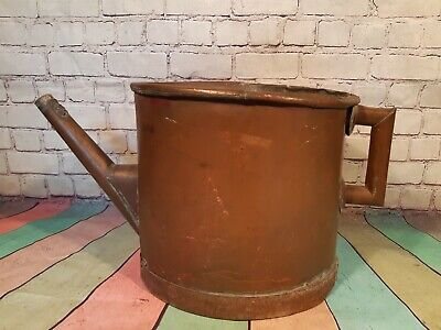 Large Antique 19th Century French Solid Copper Watering Can Garden Ornament