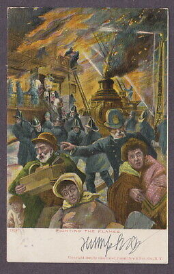Fire Fighting Flames Antique Postcard Policeman Helps Family Escape UDB