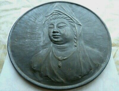 """ANTIQUE CAST IRON  DISK,CHINISE KWAN YIN god of mercy WALL PLAQUE 5Lb 12"""", 30cm"""