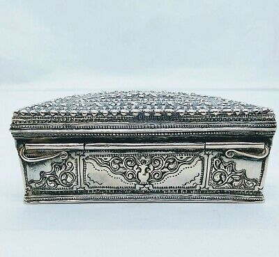Antique Burmese Silver Lime Box, Horse Maker, Repousse, Shan States, Late 19Th C