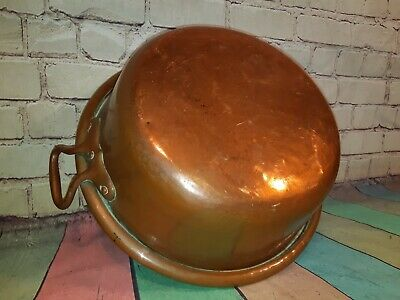Large Antique Vintage French Solid Copper Jam Pot Pan Sink Basin Brass Handles