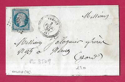 N°14 Pc 3509 Vebron Lozere Cad Type 22 Rare Indice 20 Lettre Cover France