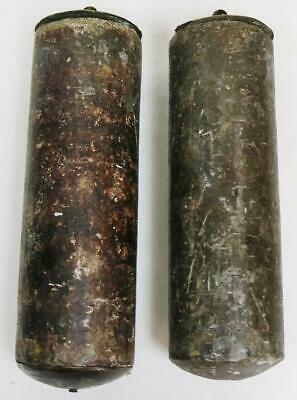 Pair Antique 18thC Lead Longcase Grandfather Clock Weights, Weighing 22lb & 21lb