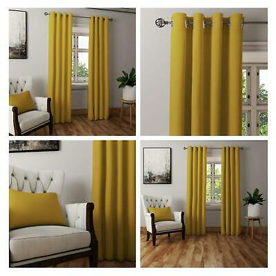 Yellow Ochre Curtains Blockout Thermal Eyelet Curtain Ready Made Ring Top Pairs