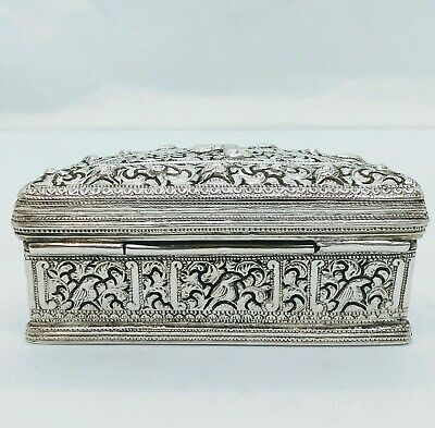 Antique Burmese Silver Lime Box, Birds, Repousse, Shan States, Late 19Th C