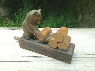 Old Vintage Antique Black Forest/Russian Bear Mechanical Carved Wooden Wood Toy