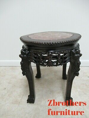 Antique Carved Rosewood Marble Top Oriental Pedestal Plant Stand Table Asian