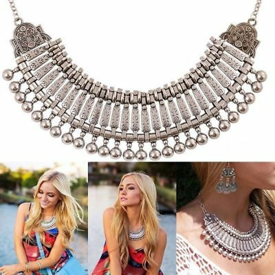 Trendy Boho Bib Statement Necklace Ethnic Tribal Gypsy Goddess Coachella Jewelry