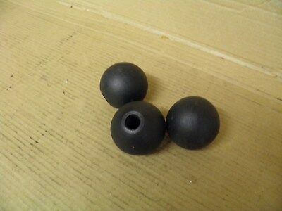 3 x black plastic machine handle knobs. 12mm female thread.  Mill Lathe engineer