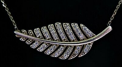 STERLING SILVER GILT FEATHER CLEAR STONE PENDANT NECKLACE 925 4.33g (14852)