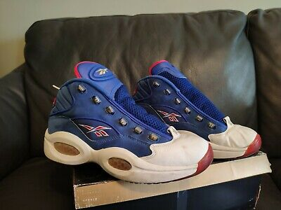 info for 997a9 cab1a Packer x Reebok Question Mid PRACTICE Iverson blue white red American flag  76ers