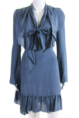 a6d6bec077241 See by Chloe Womens Silk Neck Tie Long Sleeve Dress Blue Size EUR 38  11513755