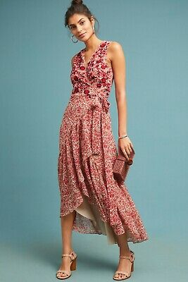 3043c3237bcc Anthropologie Ranna Gill Beaded Wrap Red Floral Dress Size Medium NEW