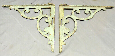 Pair Antique Cast Iron Shelf Brackets Decorative Old Vtg Hardware 217-19L