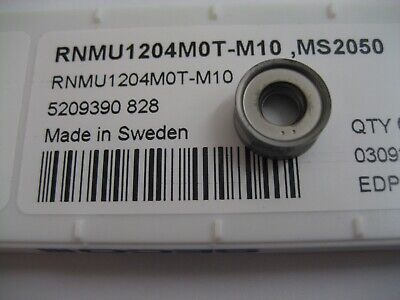 6 X RNMU1204M0T-M10 MS2050 Seco Rnmu Solide Carbure Bouton Visage Moulin Inserts