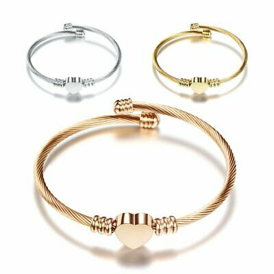 Stainless Steel Bracelet For Women Twisted Cable Wire Heart Cuff Bangle Jewelry