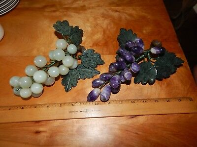 2 Vintage Rock Grape Cluster Amethyst Polished Stems Leaves