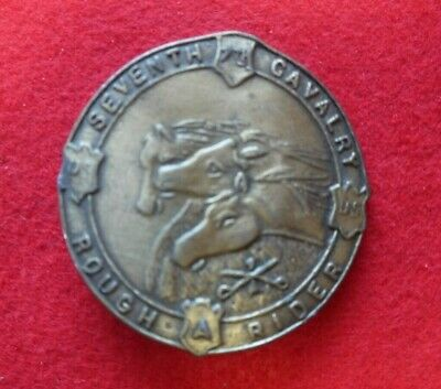 Vintage Seventh Cavalry Rough Riders Military Brass Belt Buckle