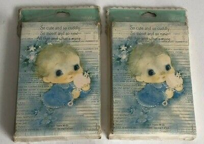 Lot Of 2 Vintage HALLMARK  Baby GIRL BIRTH Announcement Note Cards & Envelopes
