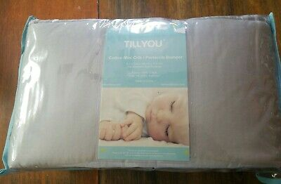 "TILLYOU Cotton Collection Breathable Mini Crib Bumper Pad Pale Gray 8"" x 122"""