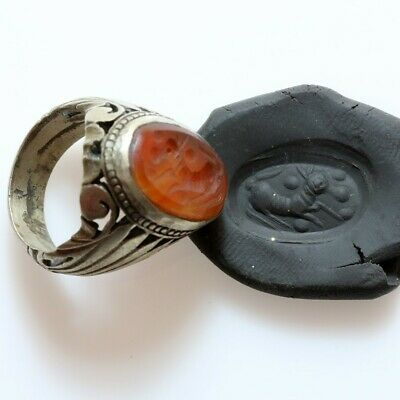 Post Medieval - Intact & Massive Near East Billon Seal Ring With Intaglio Stone