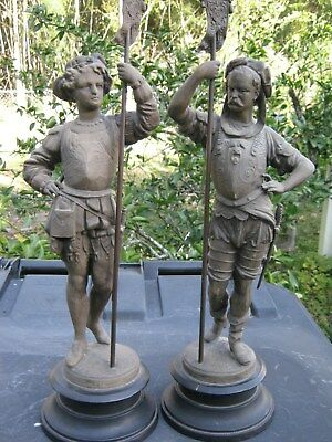 Antique Pair of Victorian Era Kroeber Metal/Spelter Clock Statues