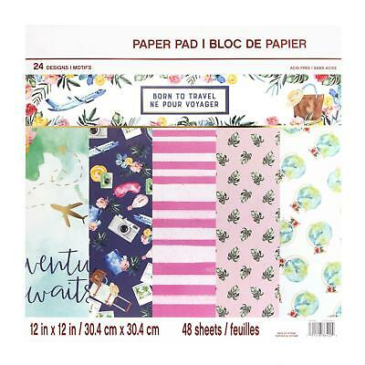 Craft Smith Design-Papierblock 30,4 x 30,4cm (48 Blatt) - Born to Travel