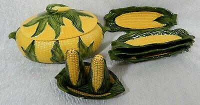 Vintage Nicely Made 1981 FARM HOUSE HOLLAND MOLD 9 Pc CORN ON COB SERVING DISHES