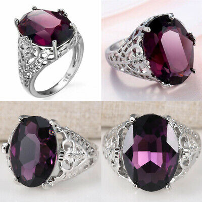 Size 6-10  925 Silver Wedding6Ct Engagement Ring Huge Bridal Alexandrite Natural