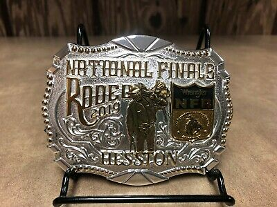 "NEW! 2019 Hesston 2-Tone (Gold/Silver) National Finals Rodeo ""Adult"" Belt Buckle"