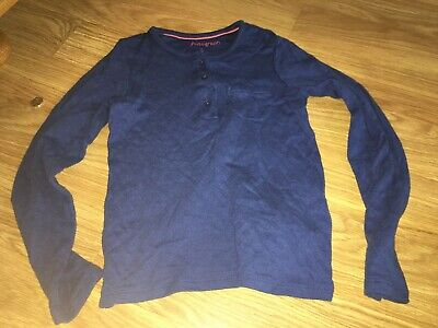 Marks & Spencer Girls 7-8 Years Blue Long Sleeved Top (Ex Cond)