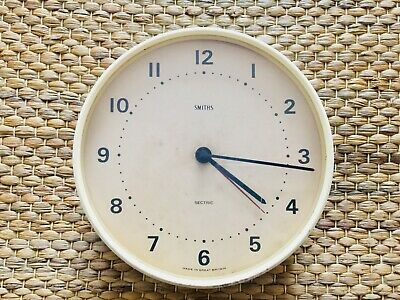 Vintage Smiths Sectric Wall Clock Baby Blue/Cream Made in Britain S.Smith & Sons