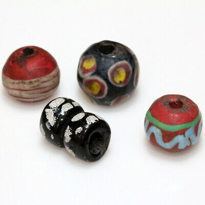 Lot Of 4 Roman Era Phoenician Glass Round Beads Circa 100-300 Ad