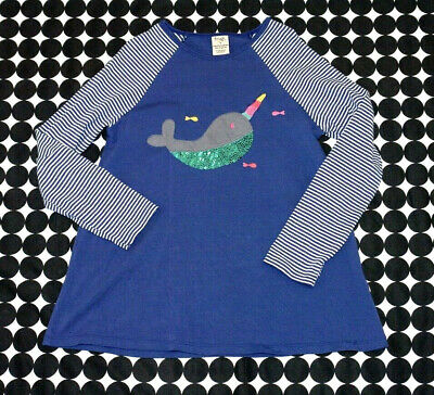 7e199fca710a Girls Frugi Organic Cotton True Blue Narhwal Long Sleeve Swing Top Sequins  9/10