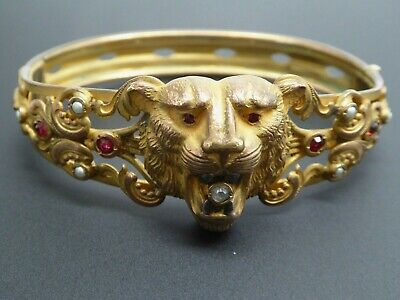 Victorian Antique Lion Cat Rolled Gold Ornate Brass Oval Bangle Bracelet 7.5""