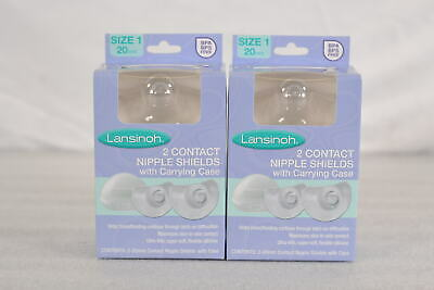 LOT OF 2, Lansinoh Contact Nipple Shields with Carrying Case, Size 1- 20mm