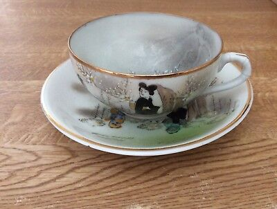 Vintage Kutani Hand Painted Porcelain Cup And Saucer