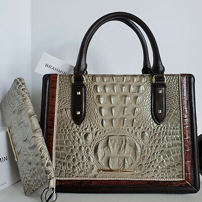 🌹Brahmin Camille Satchel Taupe Brown Green Leather Carryall Bag+Tassel Ring NWT